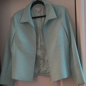 Casual Corner Quilted Pattern Blue Jacket